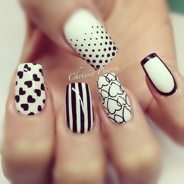 6 black and white nail art - Black and White Nail Art Designs – Perfect Match For Any Parties