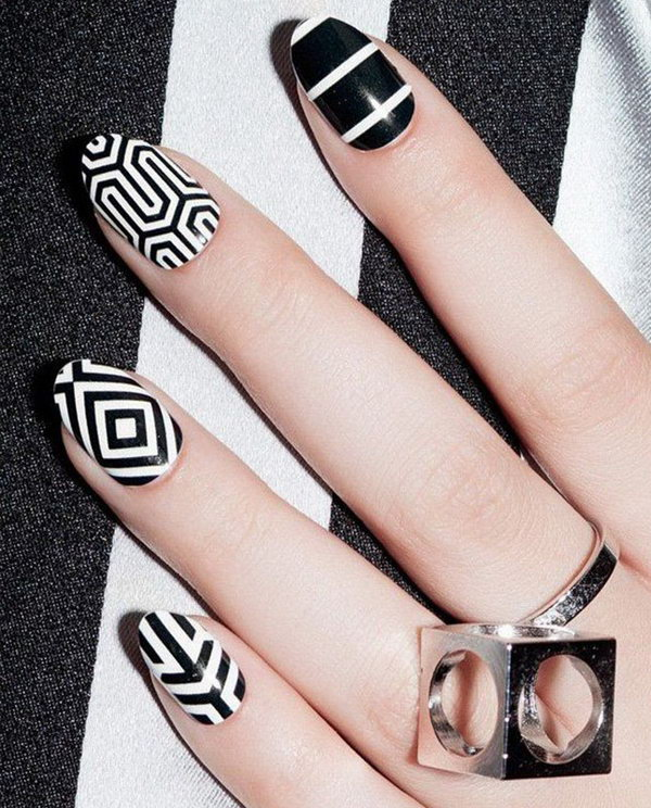 8 black and white nail art - Black and White Nail Art Designs – Perfect Match For Any Parties