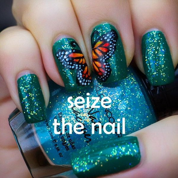 23 butterfly nail art designs - 30+ Pretty Butterfly Nail Art Designs
