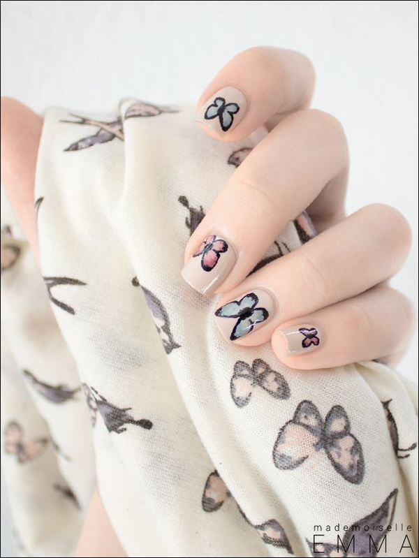 5 2 butterfly nail art designs - 30+ Pretty Butterfly Nail Art Designs
