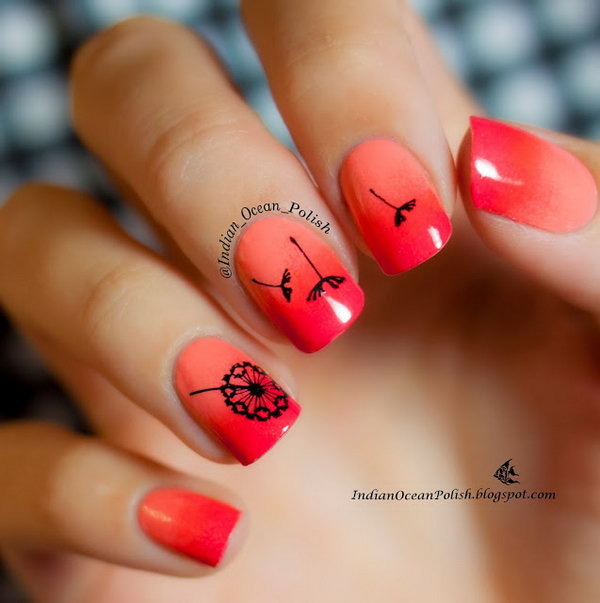 1 dandelion nail art - 40+ Cute Dandelion Nail Art Designs And Tutorials – Make a Dandelion Wish