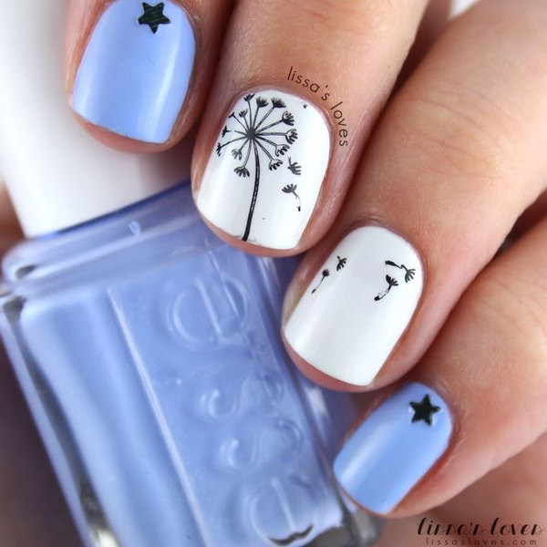 11 dandelion nail art - 40+ Cute Dandelion Nail Art Designs And Tutorials – Make a Dandelion Wish