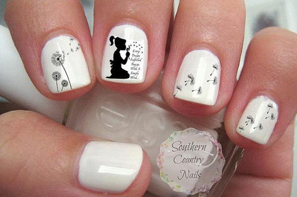 23 dandelion nail art - 40+ Cute Dandelion Nail Art Designs And Tutorials – Make a Dandelion Wish