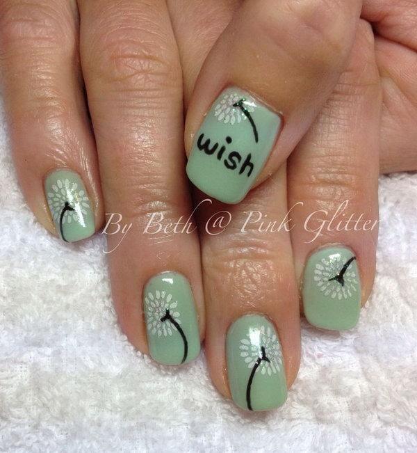 29 dandelion nail art - 40+ Cute Dandelion Nail Art Designs And Tutorials – Make a Dandelion Wish