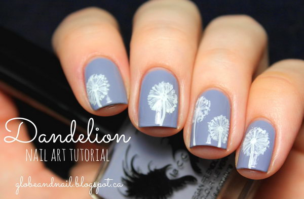 4 dandelion nail art - 40+ Cute Dandelion Nail Art Designs And Tutorials – Make a Dandelion Wish