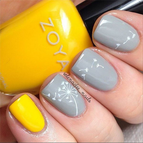 8 dandelion nail art - 40+ Cute Dandelion Nail Art Designs And Tutorials – Make a Dandelion Wish