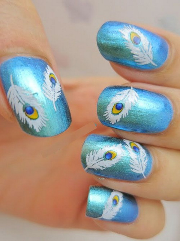 1 41 feather nail art - 40+ Pretty Feather Nail Art Designs And Tutorials