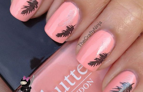14 feather nail art - 40+ Pretty Feather Nail Art Designs And Tutorials