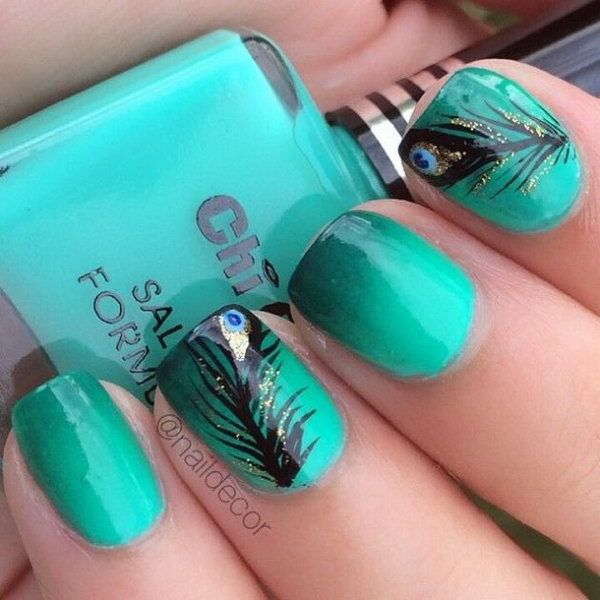 17 feather nail art - 40+ Pretty Feather Nail Art Designs And Tutorials