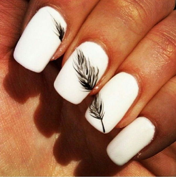 22 feather nail art - 40+ Pretty Feather Nail Art Designs And Tutorials