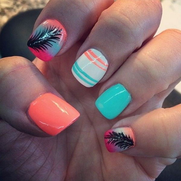 28 feather nail art - 40+ Pretty Feather Nail Art Designs And Tutorials