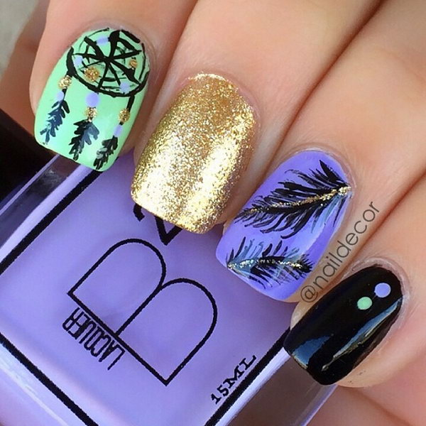 30 feather nail art - 40+ Pretty Feather Nail Art Designs And Tutorials