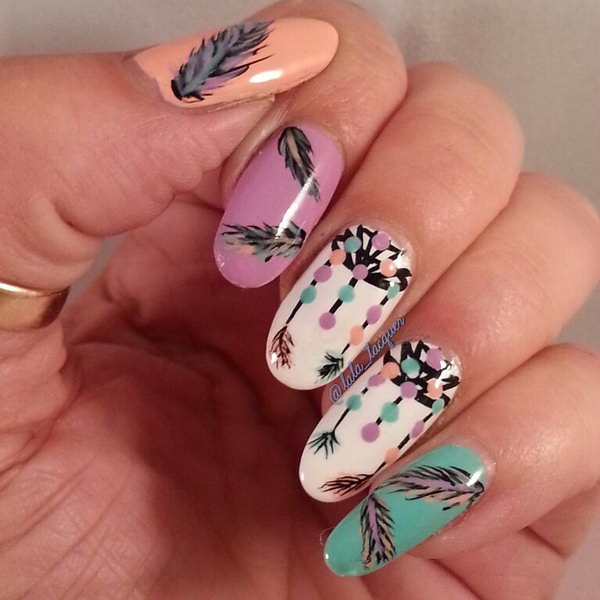 31 feather nail art - 40+ Pretty Feather Nail Art Designs And Tutorials