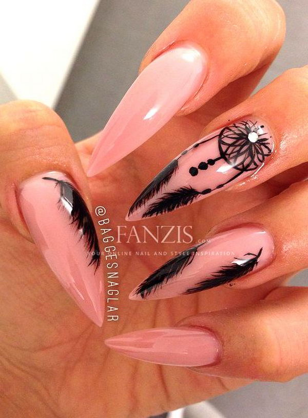 39 feather nail art - 40+ Pretty Feather Nail Art Designs And Tutorials