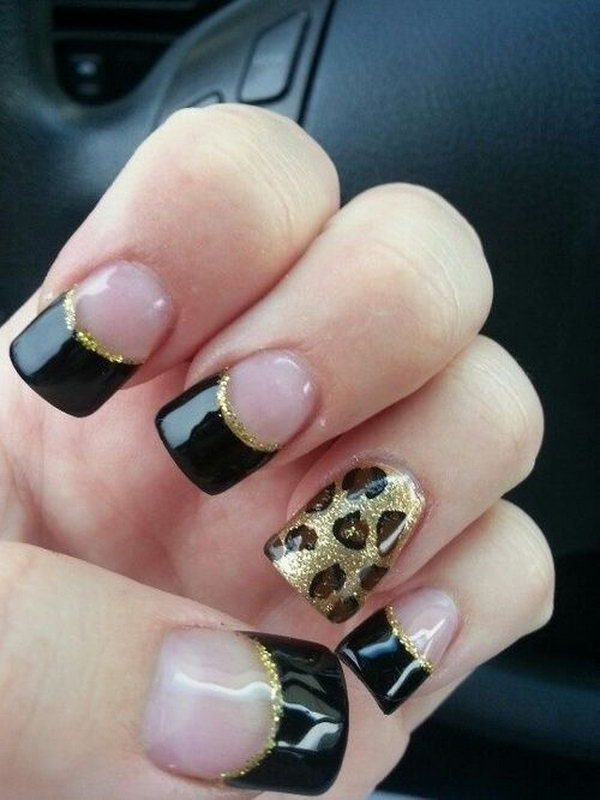 Leopard Black Glitter French Mani