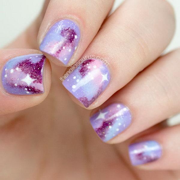 17 galaxy nail art - 50 Gorgeous Galaxy Nail Art Designs and Tutorials