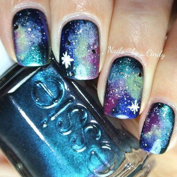 35 galaxy nail art - 50 Gorgeous Galaxy Nail Art Designs and Tutorials