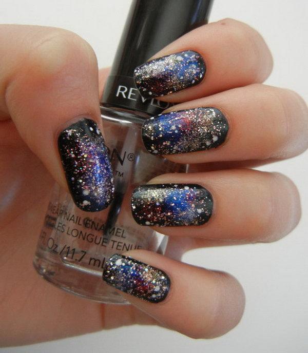 42 galaxy nail art - 50 Gorgeous Galaxy Nail Art Designs and Tutorials