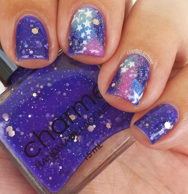 5 galaxy nail art - 50 Gorgeous Galaxy Nail Art Designs and Tutorials