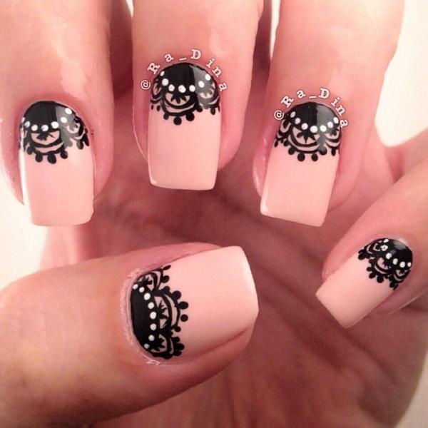 49 half moon nail art - 60+ Stunning Half Moon Nail Art Designs & Tutorials