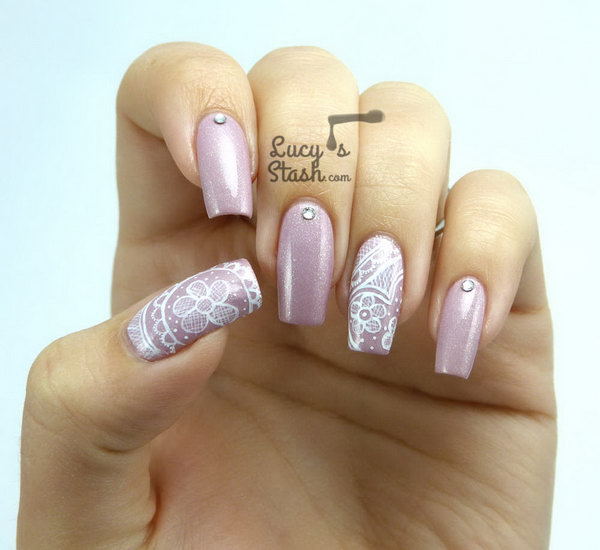 24 lace nail art - 60 Lace Nail Art Designs & Tutorials For You To Get The Fashionable Look