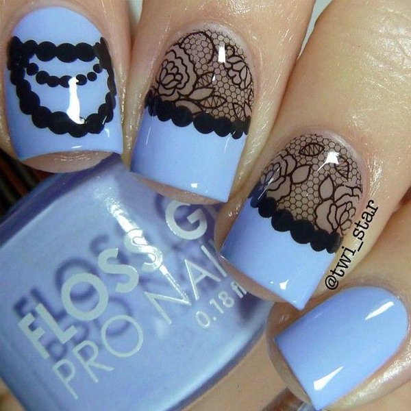 38 lace nail art - 60 Lace Nail Art Designs & Tutorials For You To Get The Fashionable Look
