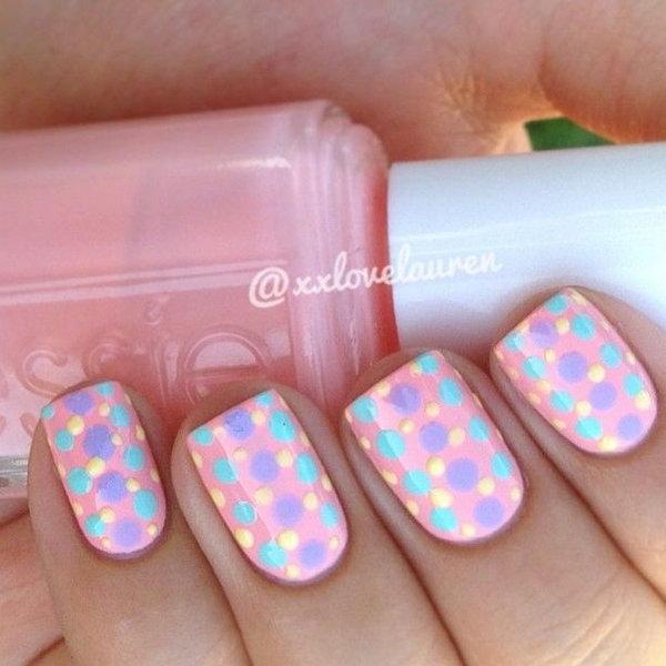 23 polka dots nail art designs - 50+ Stylish Polka Dots Nail Art Designs