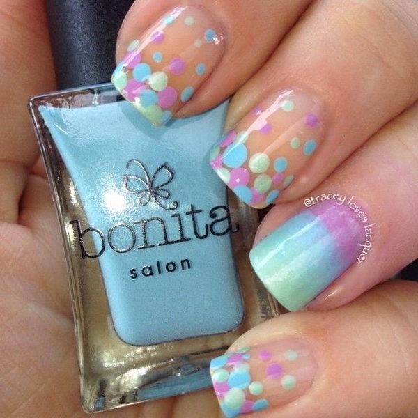 24 polka dots nail art designs - 50+ Stylish Polka Dots Nail Art Designs
