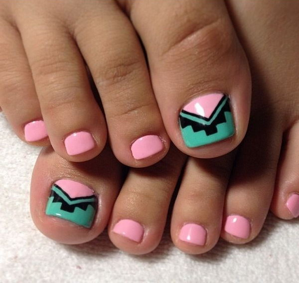 Teal And Peach Tribal Toe Nails
