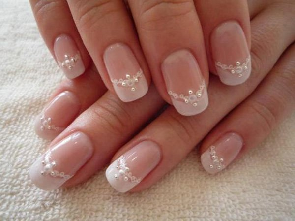 White Lace And Pearl Nails