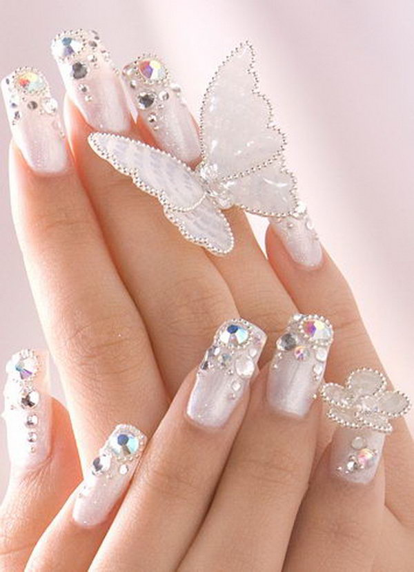 9 wedding nail art designs - 40+ Amazing Bridal Wedding Nail Art for Your Special Day