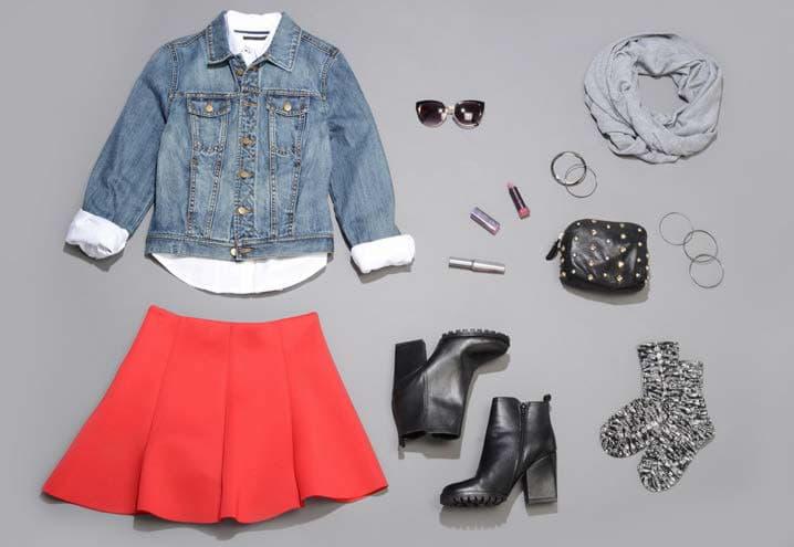 Photo: Rakuten Boots - Stuart Weitzman   Sunglasses – Spitfire Studio   Skirt - Humble Chic   Jean Jacket - Aeropostale Dress Shirt - Il Migliore   Infinity scarf - David Young   Socks - Ozone