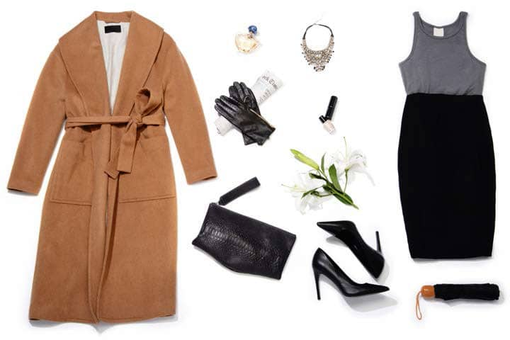 Photo: Rakuten Camel Coat - BGSD | Crystal necklace - BlountJewels | Pencil Skirt - Elie Tahari Black Pumps – Delman Betti | Leather Gloves - Luxury Lane