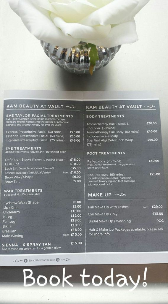 A price list for treatments at Vault Hair and Beauty.
