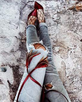 Red Heels Fishnet Tights Distressed Jeans