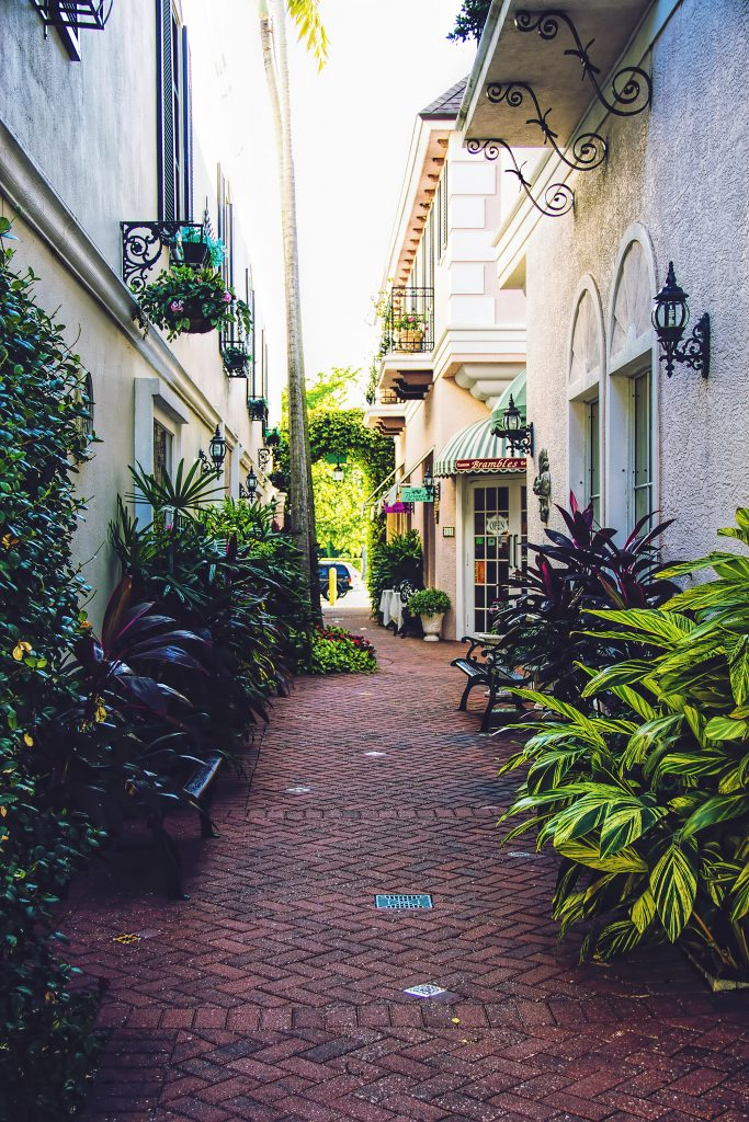 Quaint side street in Naples Florida