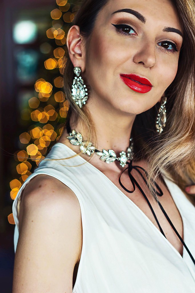 Christmas outfit statement earring and statement rhinestone choker