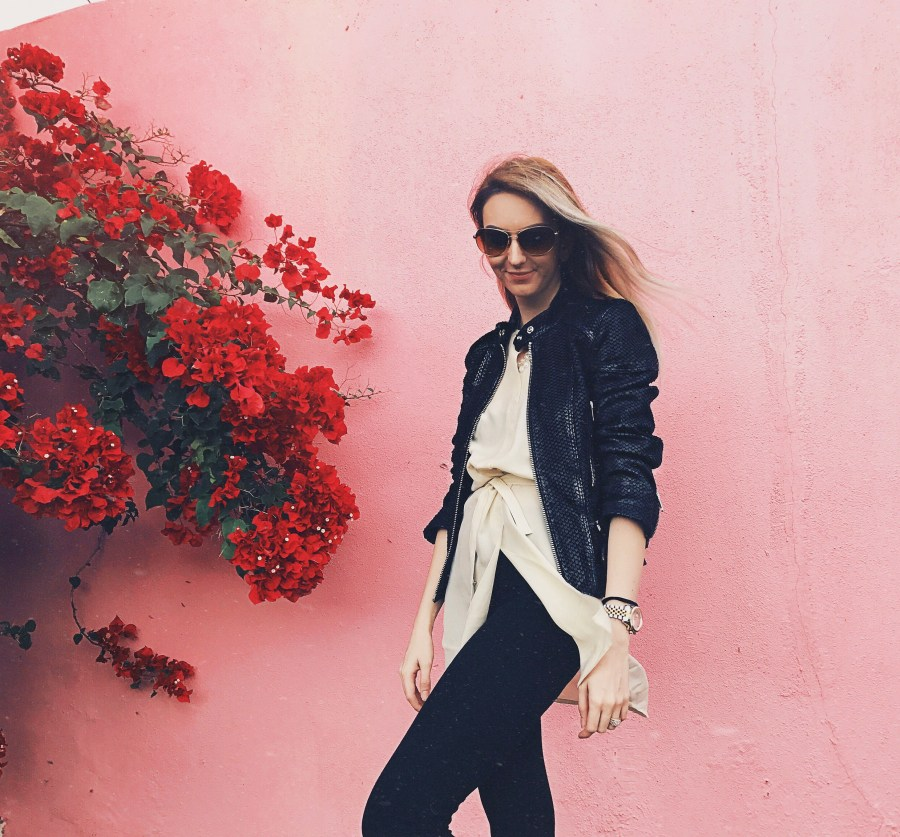 Leather jacket and silk top from Diesel Pink Wall
