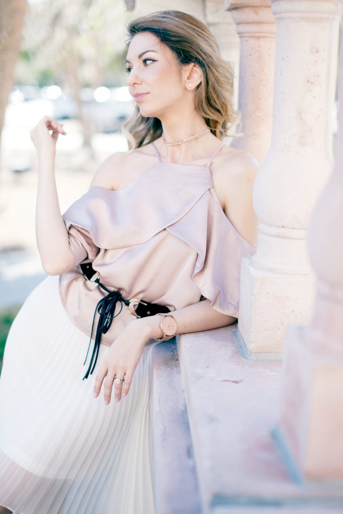 Blush cold shoulder pink satin top white pleated high low skirt and pink satin booties