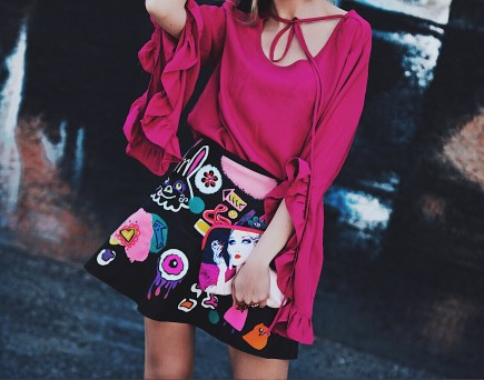 Magenta Frilly Top Graffiti Leather Skirt and Fishnet Socks