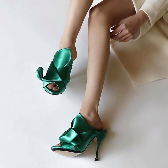 Knotted Satin Bow Mules