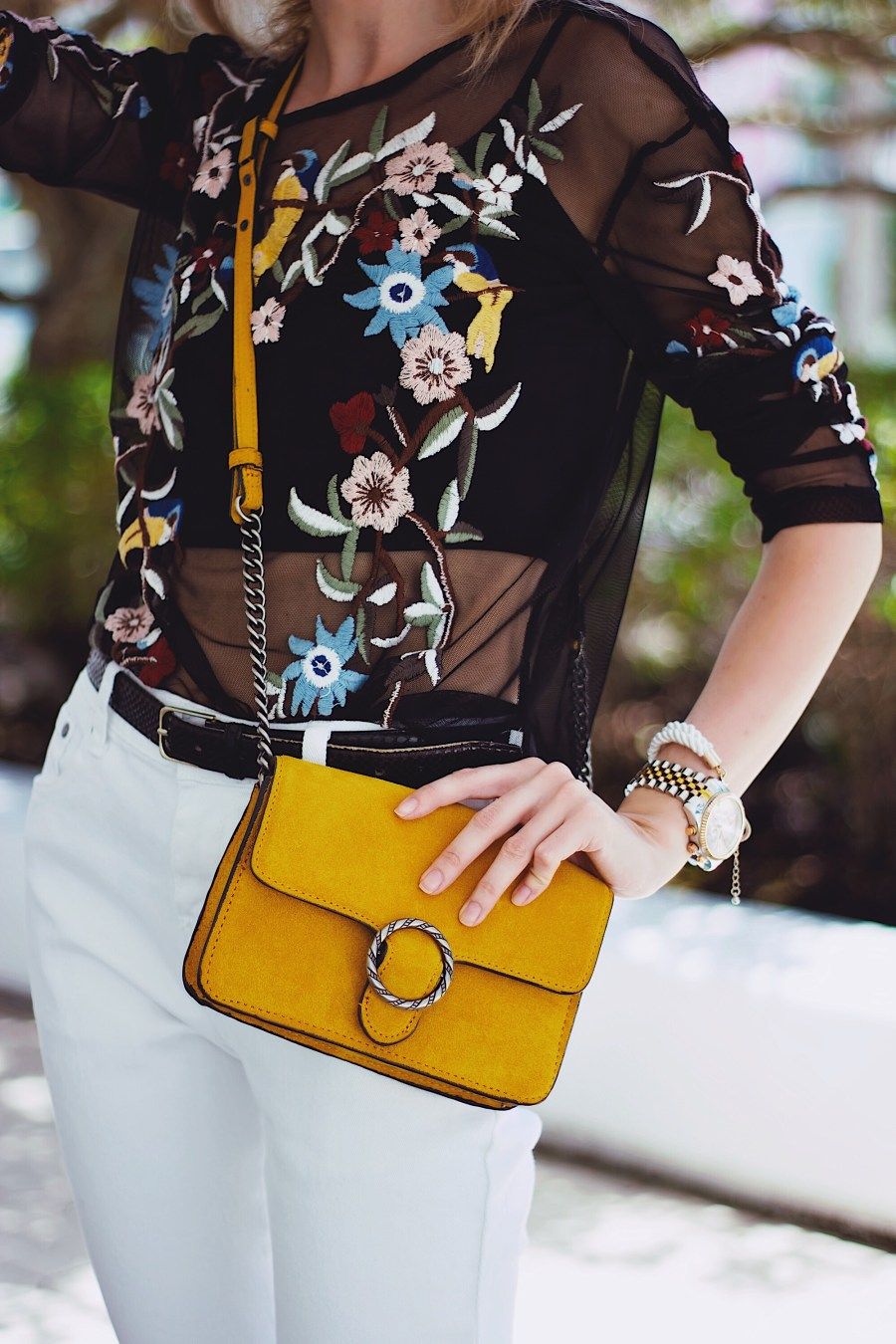 White TOBI Distressed Jeans Zara Embroidered Shirt Mango Mustard Suede Bag
