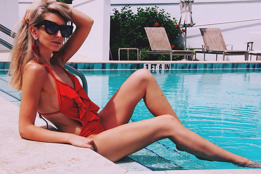 Summer is a State of Mind Red Ruffle Summer Swimsuit