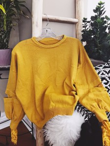 RoseGal Yellow Mustard Lace Sleeve Cardigan StyleUnsettled
