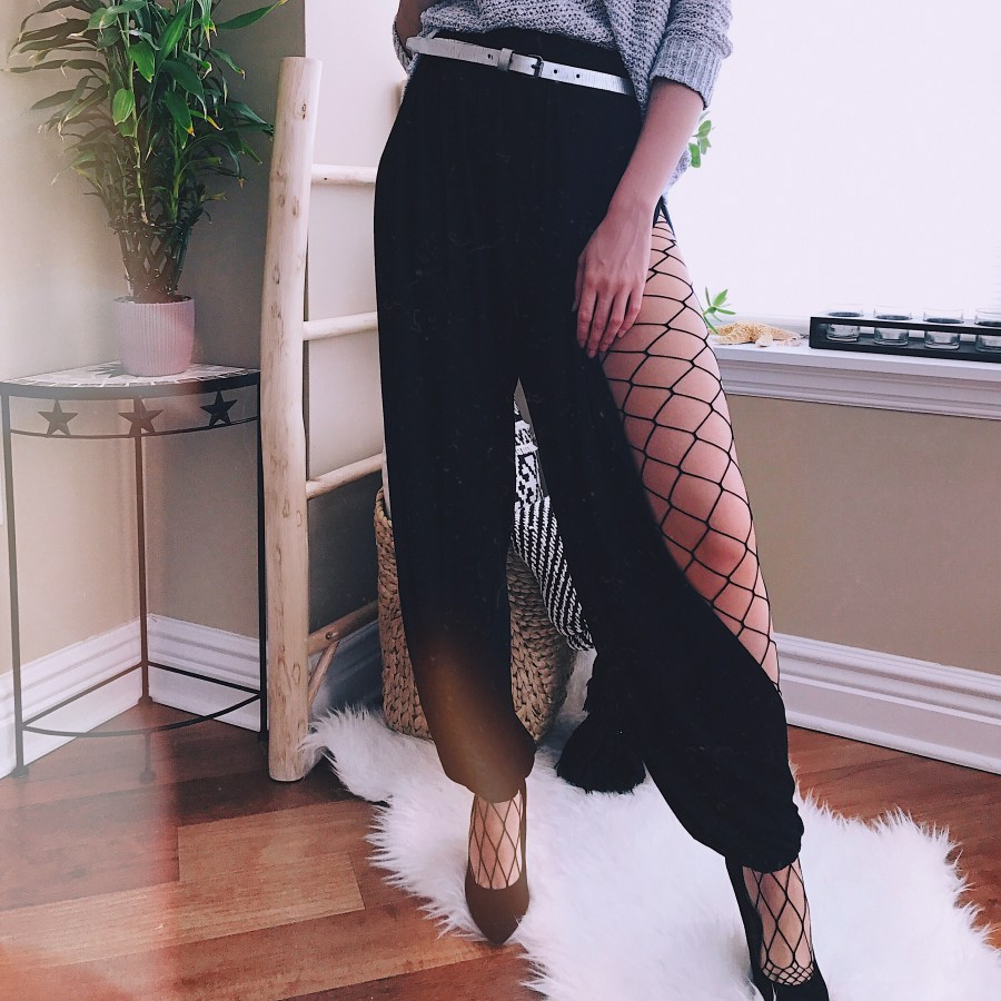 Side split black harem style pants fishnet Style Unsettled