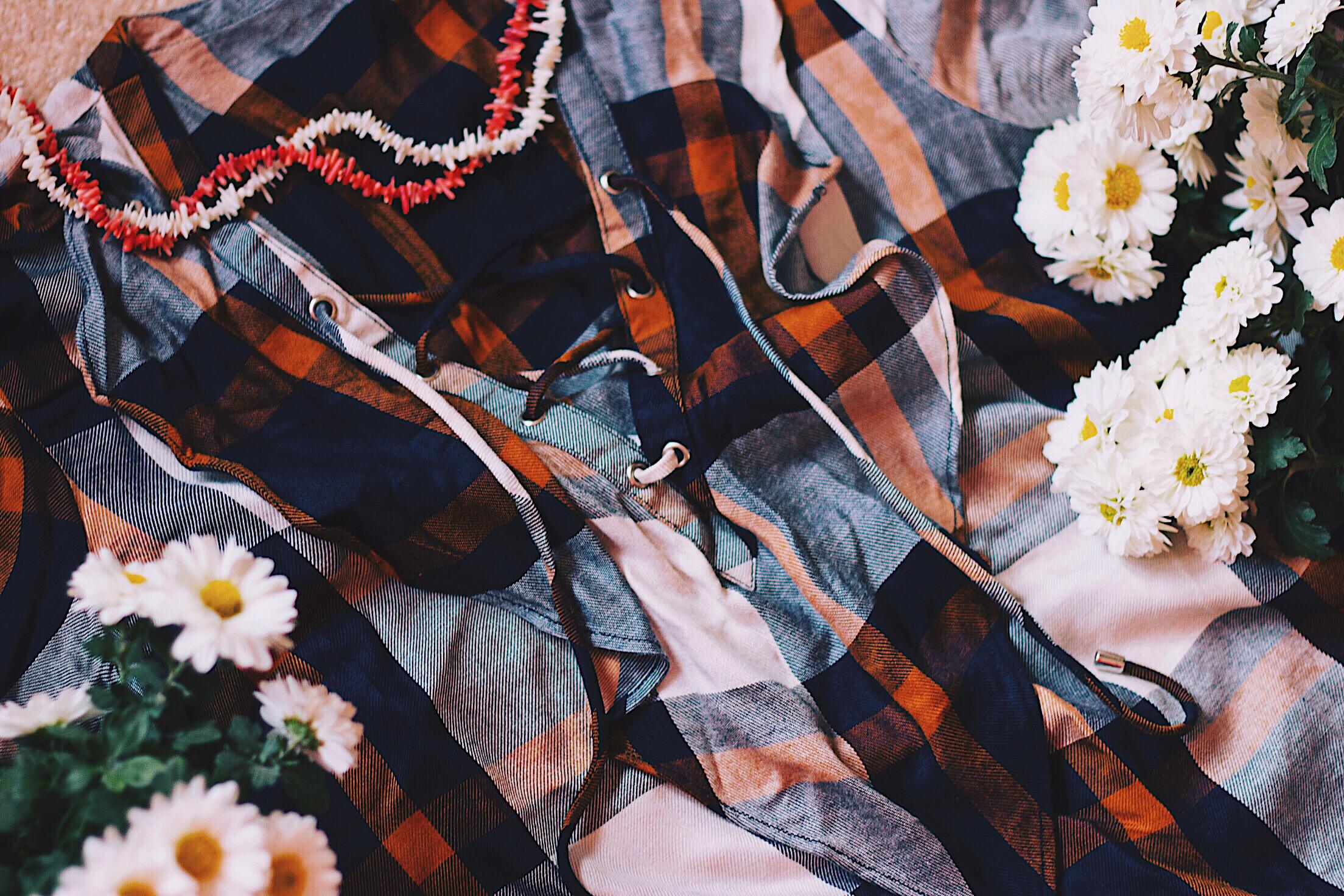 Stradivarius Lace up Ruffle Plaid Shirt