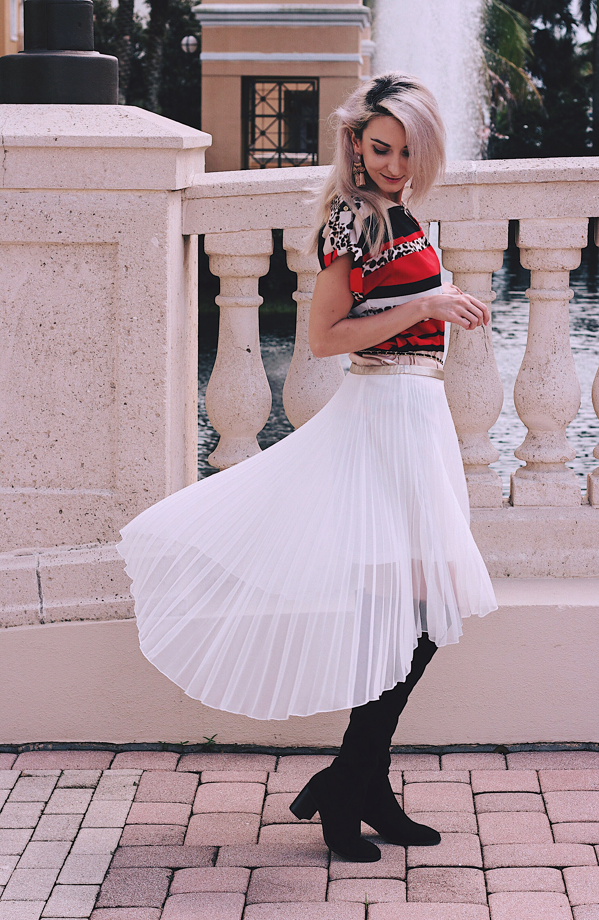 Cinderella Moment Calvin Klein Blouse Asos Pleated Skirt Zara Boots