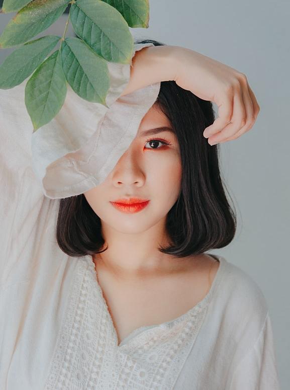 asian woman short hair beauty makeup