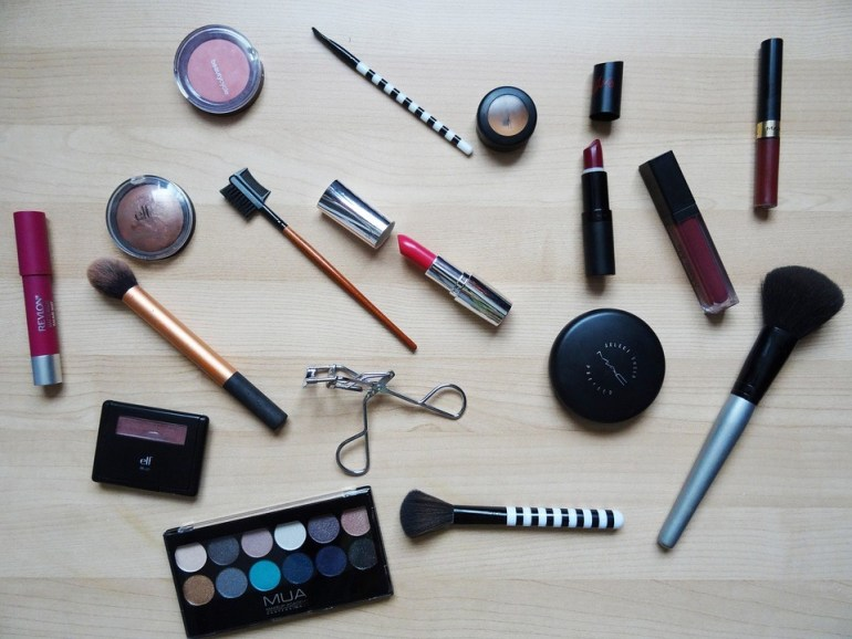 activated charcoal beauty makeup flatlay