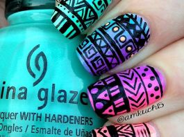 Beautiful Aztec Nail Art Designs For Young Girls